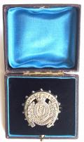 The Royal Irish Regiment, Boer War 1900 Hallmarked Silver South Africa Horseshoe Antique Sweetheart Brooch in Original Presentation Case.