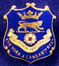 WW1 York & Lancaster Regiment Blue Enamelled Shield Sweetheart Brooch.