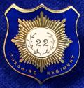 WW1 Cheshire Regiment Blue Enamelled Shield Sweetheart Brooch.