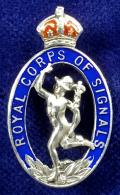 WW2 Royal Corps of Signals Silver & Enamel Sweetheart Brooch.