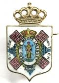 WW1 The Black Watch (Royal Highlanders), Hand Painted Enamel Shield Sweetheart Brooch.
