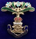 WW1 Royal Artillery 'Forget Me Not' Floral Suspension Sweetheart Brooch.