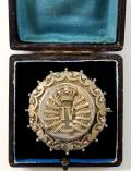 4th (Queen's Own) Hussars Victorian 1896 Hallmarked Hollow Silver Antique Cavalry Regimental Brooch in Original Case.