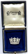 EIIR Royal Navy & Merchant Services Gold and Diamond Set Naval Crown Brooch in Gieves Presentation Case.