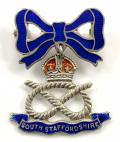 WW2 South Staffordshire Regiment Silver and Enamel Sweetheart Bow Brooch.