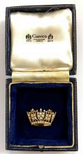Royal Navy & Merchant Services 1989 gold and pearl naval crown brooch