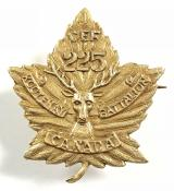 Canadian CEF 225th Kootenay Infantry Battalion gold sweetheart brooch
