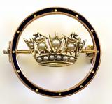 Royal Navy and Merchant Services 1973 gold and pearl nautical crown brooch