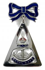Royal Navy crown and anchor sweetheart bow brooch