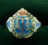 Auxiliary Territorial Service silver and enamel ATS ring