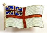 Royal Navy White Ensign 1914 silver and enamel flag brooch
