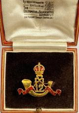 12th Frontier Force Regiment Indian Army gold military brooch & case