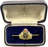 Royal Naval Reserve RNR gold brooch and case