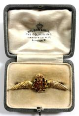 Royal Flying Corps pilot's wing RFC sweetheart brooch & case